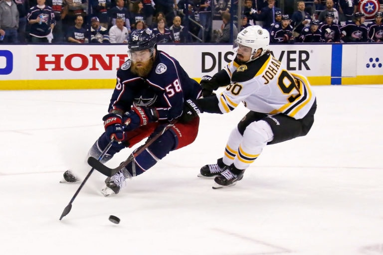 David Savard Columbus Blue Jackets Marcus Johansson Boston Bruins