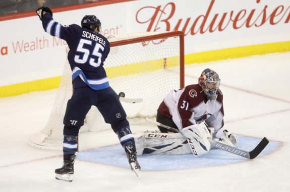 Winnipeg Jets' Mark Scheifele Colorado Avalanche Philipp Grubauer