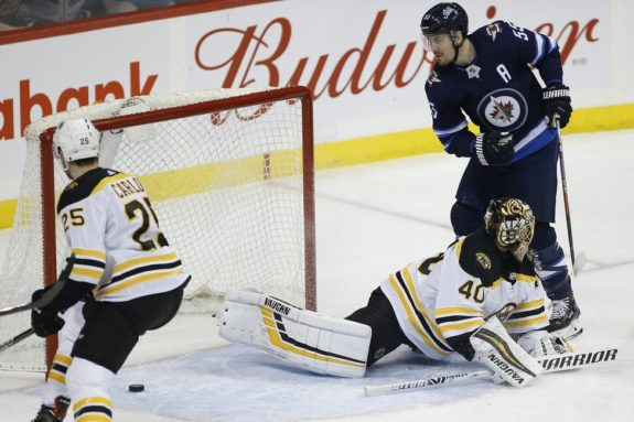 Winnipeg Jets' Mark Scheifele Boston Bruins Tuukka Rask