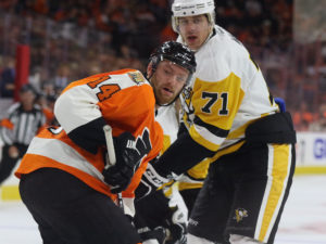 Malkin has been able to shrug off questionable plays during 2016-17, for the most part. - Sean Couturier, Evgeni Malkin (Amy Irvin / The Hockey Writers)