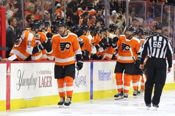 Sean Couturier Philadelphia Flyers bench