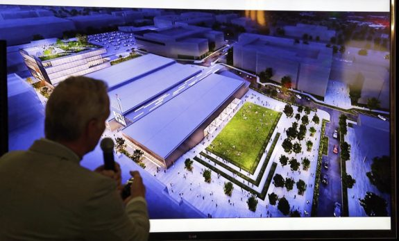 NHL Seattle, displays artist's renditions of a planned NHL ice hockey practice facility