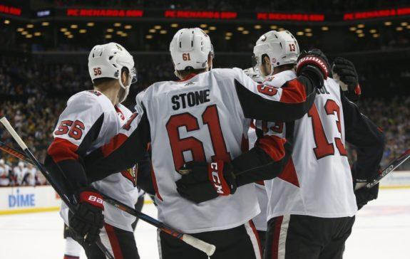 Ottawa Senators Mark Stone celebrates