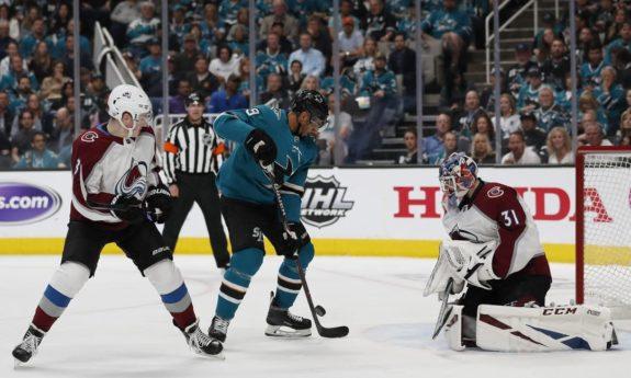 Colorado Avalanche's Cale Maker Philipp Grubauer San Jose Sharks' Evander Kane