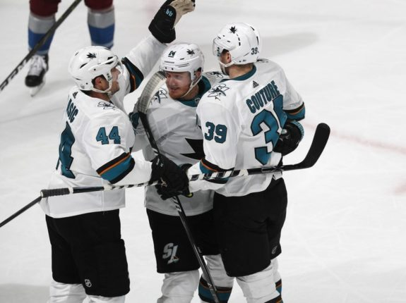 San Jose Sharks Marc-Edouard Vlasic Gustav Nyquist Logan Couture