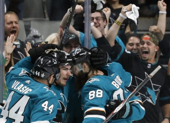 San Jose Sharks' Marc-Edouard Vlasic Timo Meier Brent Burns