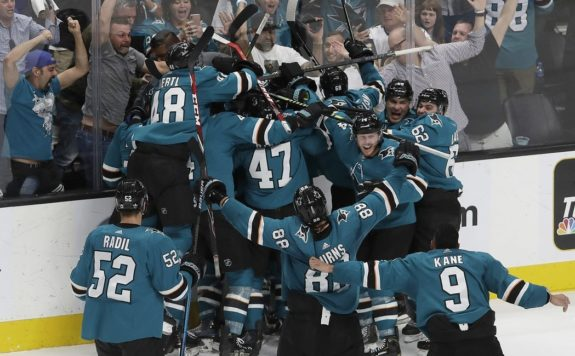 San Jose Sharks players celebrate after defeating the Vegas Golden Knights in Game 7