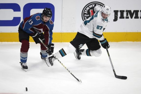 Colorado Avalanche Alexander Kerfoot and San Jose Sharks Joonas Donskoi