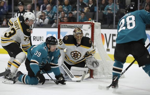 Boston Bruins Tuukka Rask Charlie McAvoy San Jose Sharks' Logan Couture Timo Meier