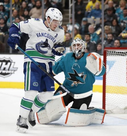 Vancouver Canucks' Bo Horvat San Jose Sharks Martin Jones