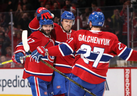 Ex-Montreal Canadiens Alexander Radulov and Alex Galchenyuk with current-Hab Shea Weber