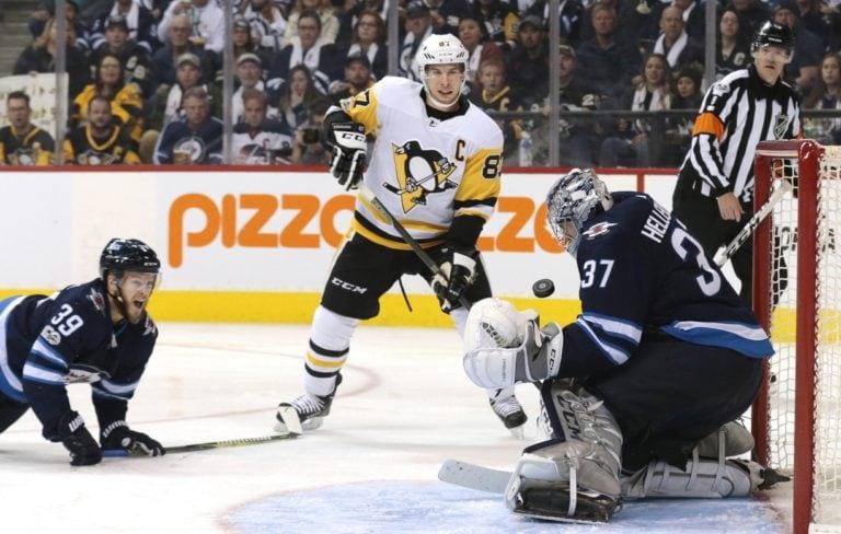 Sidney Crosby Penguins Connor Hellebuyck Jets