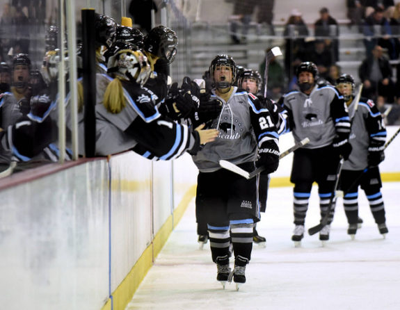 Devon Skeats celebrates after scoring a goal for the Buffalo Beauts (photo credit: Troy Parla)