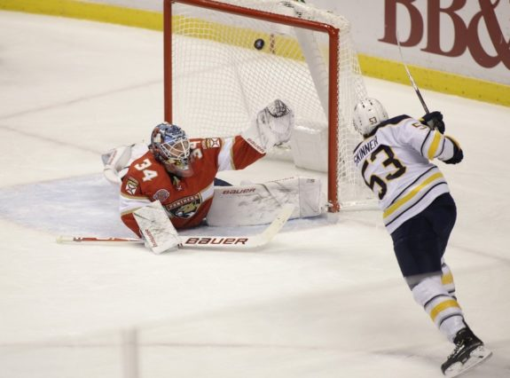 Buffalo Sabres left wing Jeff Skinner Florida Panthers goaltender James Reimer