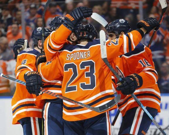 Edmonton Oilers celebrate - Ryan Spooner
