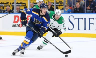 Blais Records Goal, Assist as Blues Beat Stars 3-2