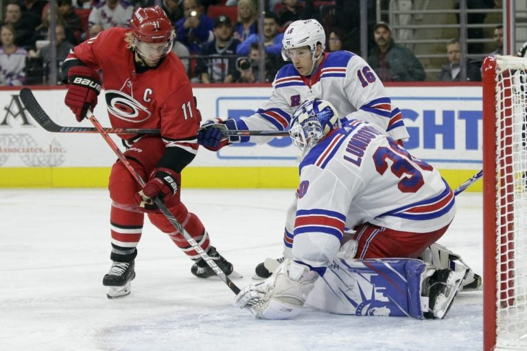 New York Rangers Henrik Lundqvist Carolina Hurricanes Jordan Staal