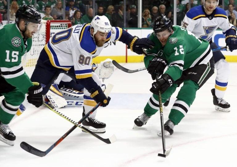 St. Louis Blues' Ryan O'Reilly Dallas Stars' Blake Comeau Radek Faksa