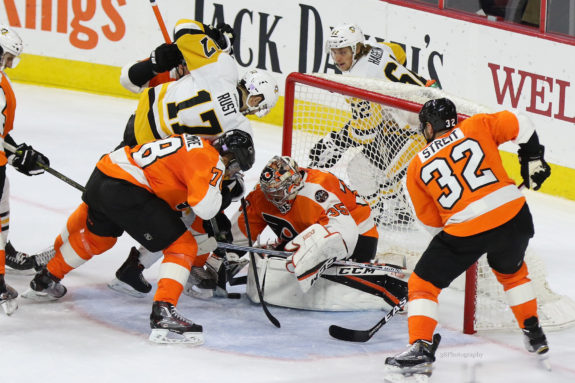 Mark Streit is part of an active defense for the Flyers this year with already 9 points in 13 games. (Amy Irvin / The Hockey Writers)
