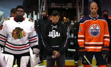 Dumba Speaks for NHL and Hockey Diversity Alliance Before Oilers/Blackhawks Game