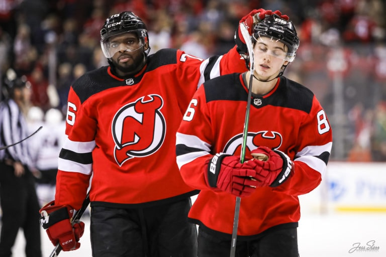 P.K. Subban and Jack Hughes New Jersey Devils