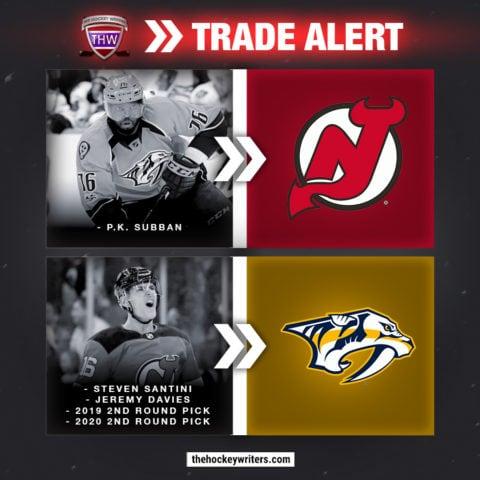 P.K. Subban New Jersey Devils for Steven Santini Jeremy Davies Nashville Predators