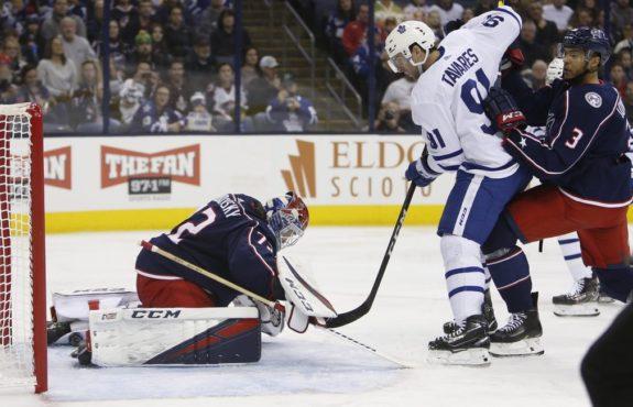 Toronto Maple Leafs' John Tavares Columbus Blue Jackets' Sergei Bobrovsky