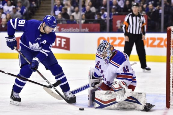 New York Rangers goaltender Alexandar Georgiev Toronto Maple Leafs center John Tavares