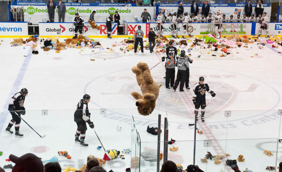 A teddy bear is thrown on the ice