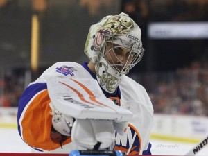 Can Thomas Greiss continue his run of strong play with Jaroslav Halak injured? (Amy Irvin / The Hockey Writers)