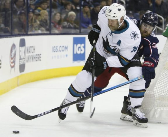San Jose Sharks' Joe Thornton Columbus Blue Jackets' David Savard