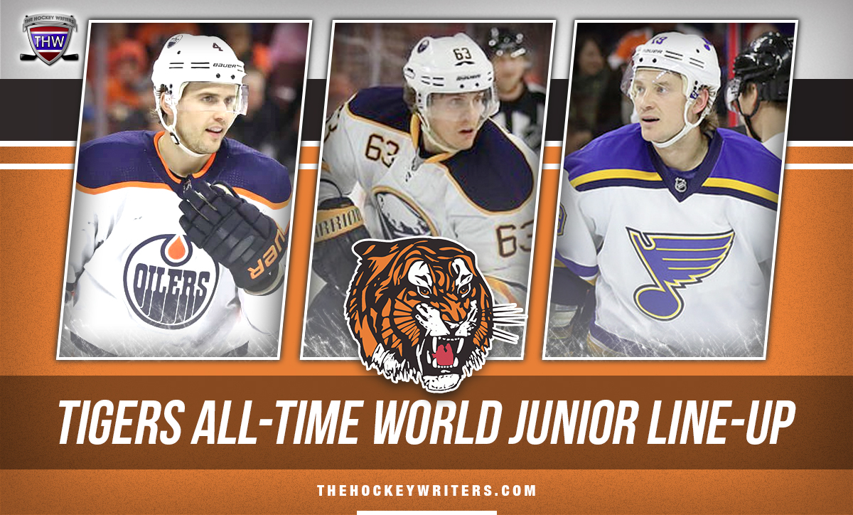 Medicine Hat Tigers All-Time World Junior Line-Up featuring Kris Russell, Jay Bouwmeester, and Tyler Ennis