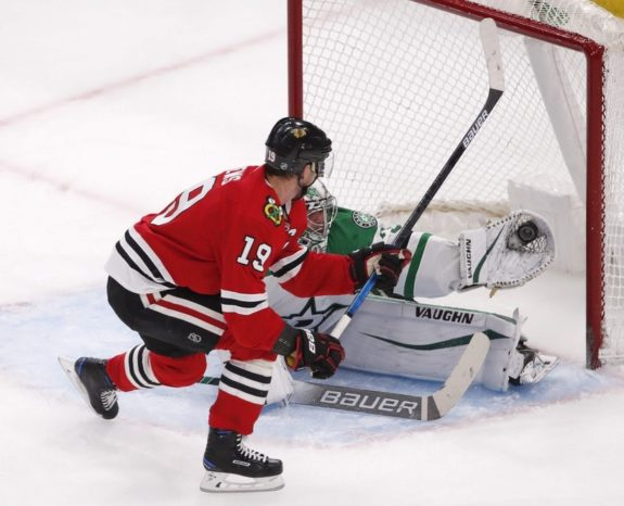 Dallas Stars Anton Khudobin Chicago Blackhawks Jonathan Toews