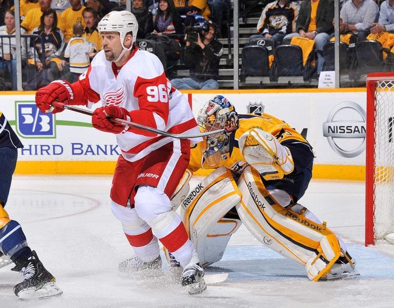 Tomas Holmstrom Detroit Red Wings Nashville Predators Pekka Rinne
