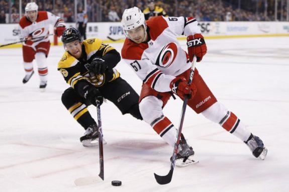 Trevor van Riemsdyk Hurricanes Matt Grzelcyk Bruins
