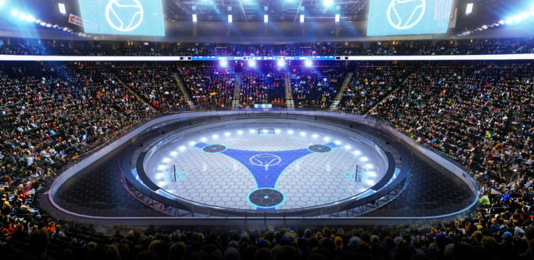 Digital rendering of a TriHockey arena (Image courtesy of Big Air Sports, Inc.)