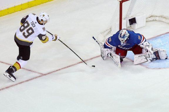 Vegas Golden Knights' Alex Tuch and New York Rangers Henrik Lundqvist