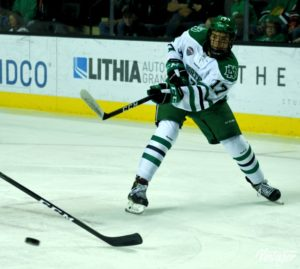 UND forward Tyson Jost takes a shot on net. (Photo Credit: Russell Hons UNDSports.com)