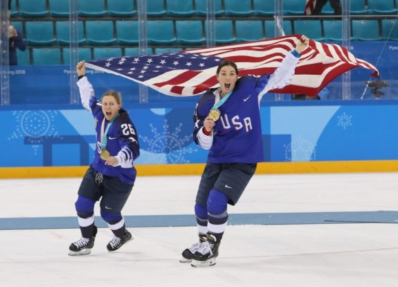 United States forward Kendall Coyne (26) and forward Hilary Knight