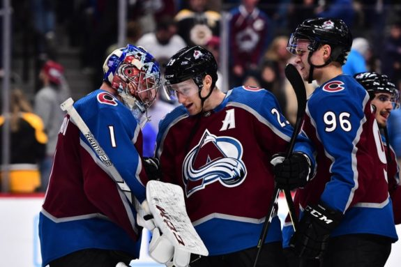 Nathan MacKinnon and Mikko Rantanen of the Colorado Avalanche.