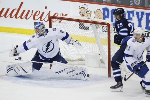 Winnipeg Jets' Patrik Laine and Tampa Bay Lightning Andrei Vasilevskiy