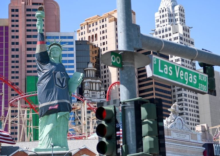 Las Vegas - The Statue of Liberty is cloaked in a Vegas Golden Knights jersey