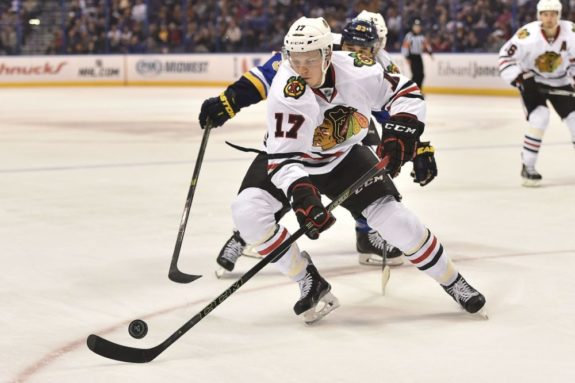 Ville Pokka is one of the Blackhawks best young defenceman, and he could become a trade chip as Chicago loads up for another run to the Stanley Cup Final. (Jasen Vinlove-USA TODAY Sports)