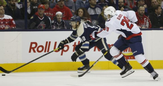Columbus Blue Jackets' Alexander Wennberg Washington Capitals' Christian Djoos