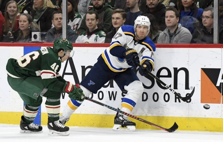 St. Louis Blues Jaden Schwartz Minnesota Wild Jared Spurgeon