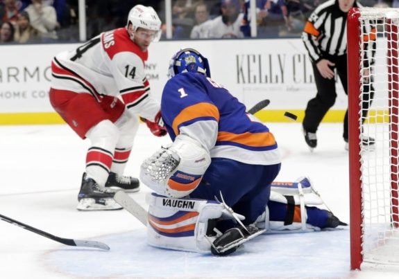 Carolina Hurricanes' Justin Williams New York Islanders Thomas Greiss