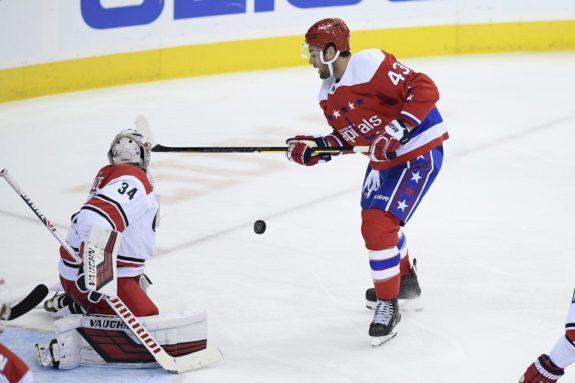 Washington Capitals right wing Tom Wilson Carolina Hurricanes goaltender Petr Mrazek