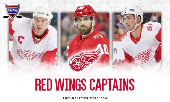 Nicklas Lidstrom, Henrik Zetterberg, and Dylan Larkin of the Detroit Red Wings.