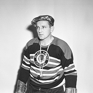 Sid Abel as playing coach of the Black Hawks