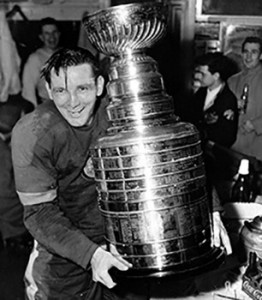 Sid Abel with the 1950 Stanley Cup/